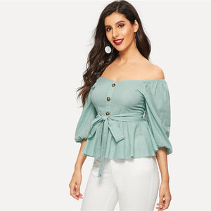 Addison Off Shoulder Peplum Blouse