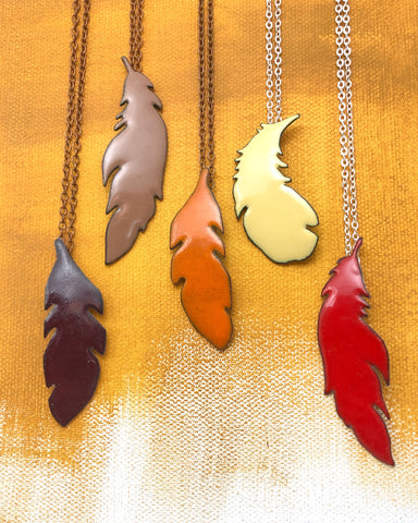 Enameled feather jewelry necklaces
