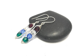 Birthstone pea pod earrings