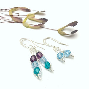 Custom birthstone pea pod earrings with swarovski crystals