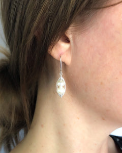 Pea pod white pearl earrings with white fresh water pearls