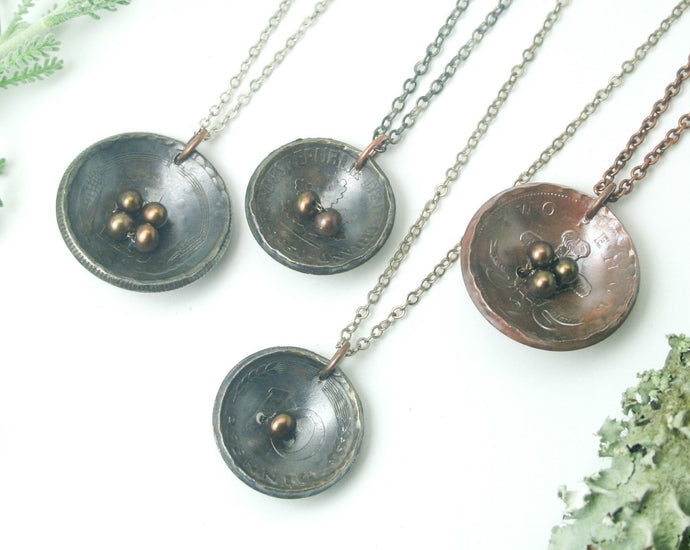 Nest and eggs necklace- chocolate eggs