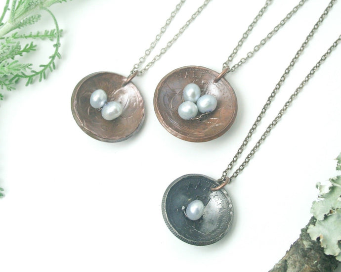 Nest and eggs necklace- bluebird eggs