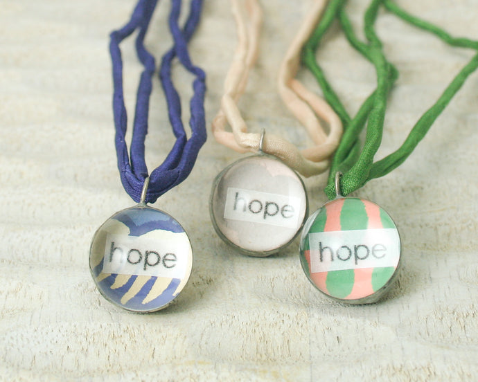 Hope Little Reminder pendant necklace with vintage wallpaper