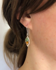 Personalized birthstone Pea pod earrings with Swarovski Crystals