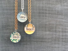 Little Reminder Dance pendant necklace with vintage wallpaper
