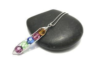 Personalized birthstone Pea pod necklace with Swarovski Crystals