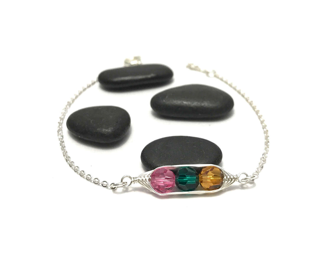 Personalized birthstone pea pod bracelet with Swarovski Crystals