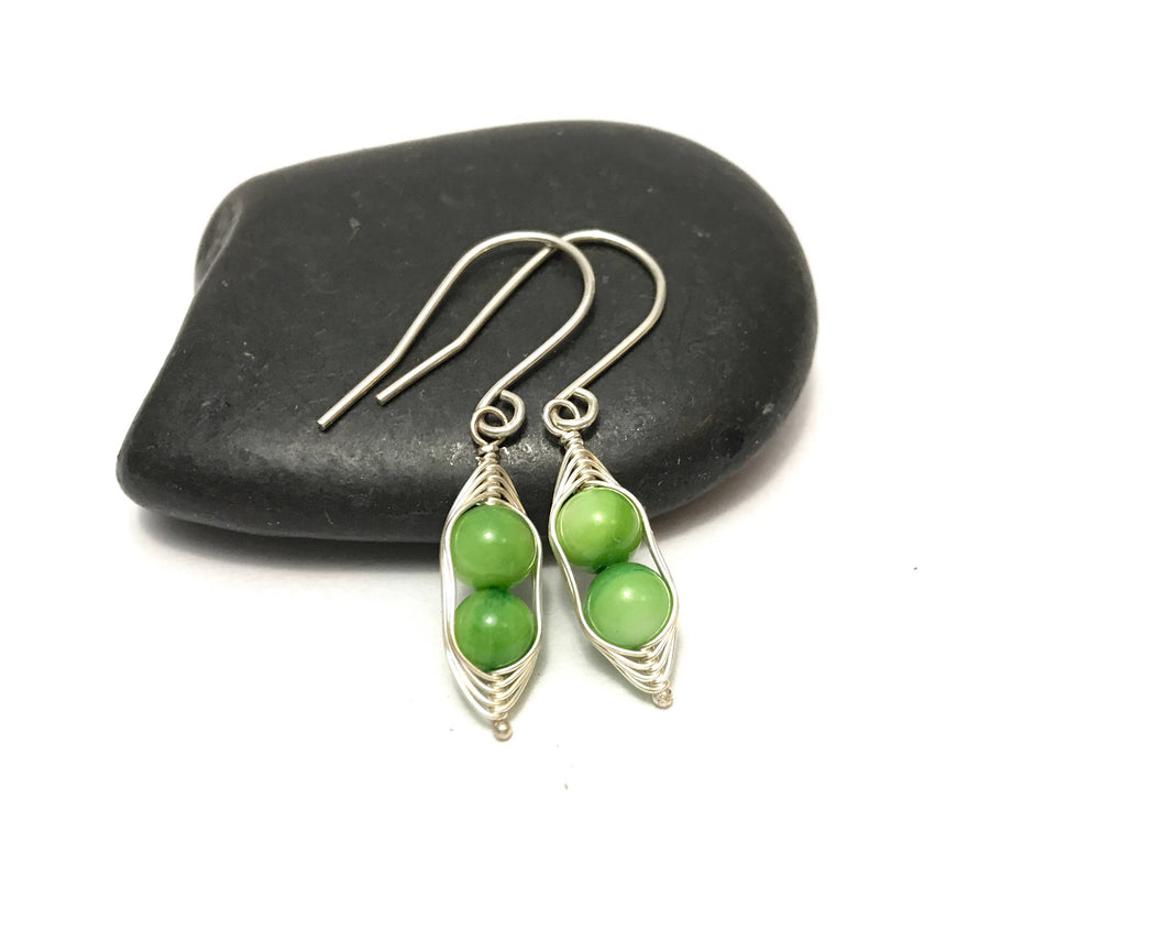Pea pod mother of pearl earrings