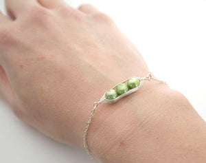 Pea pod bracelet with bronze forest green freshwater pearls
