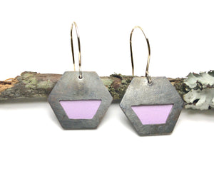 Peekaboo earrings/hexagon/ lavender