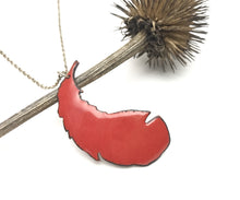 Take flight necklace, enameled red feather pendant