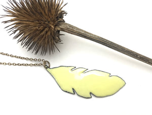 Take flight necklace, enameled buttercup feather pendant on chain