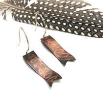 Copper coil ribbon earrings