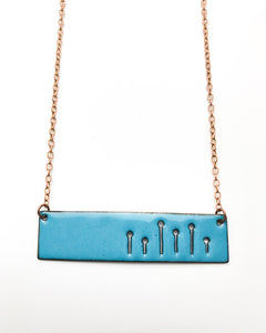 Teal Field of poppies wide necklace