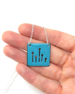 Teal Field of poppies necklace