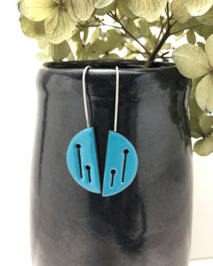 Teal Field of poppies half moon hook earrings