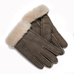 FACTORY OUTLET: Tommy Tou Mushroom or Grey Sheepskin Gloves
