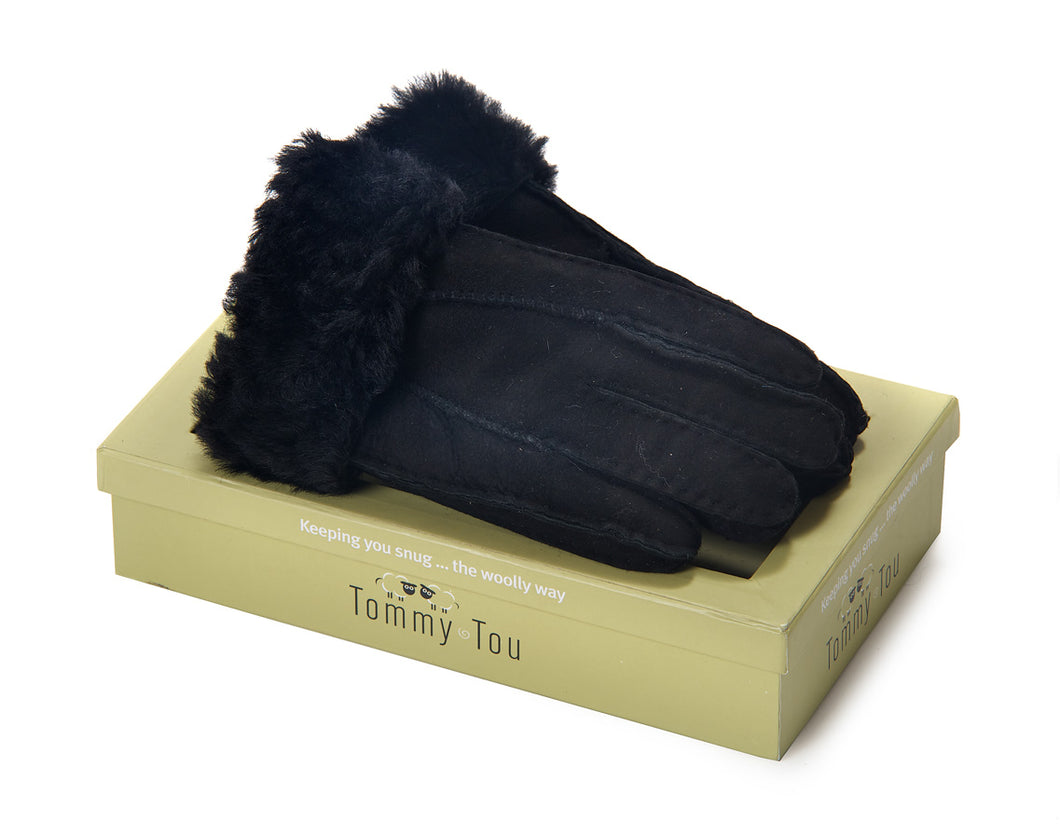Tommy Tou Black Sheepskin Gloves - Sheepskin fully-lined.