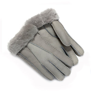 FACTORY OUTLET: Tommy Tou Nappa Leather Gloves Grey - Sheepskin lined.