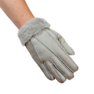 FACTORY OUTLET : Tommy Tou Nappa Leather Gloves Grey - Sheepskin lined.