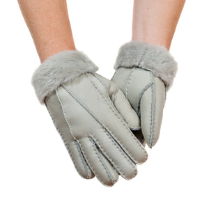 Tommy Tou Nappa Leather Gloves Grey - Sheepskin lined.