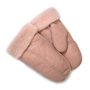 FACTORY OUTLET : Tommy Tou Pink sheepskin-lined Leather Mittens