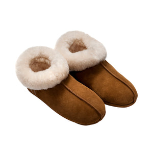 FACTORY OUTLET : Tommy Tou Chestnut-colour Sheepskin Booties (slippers)