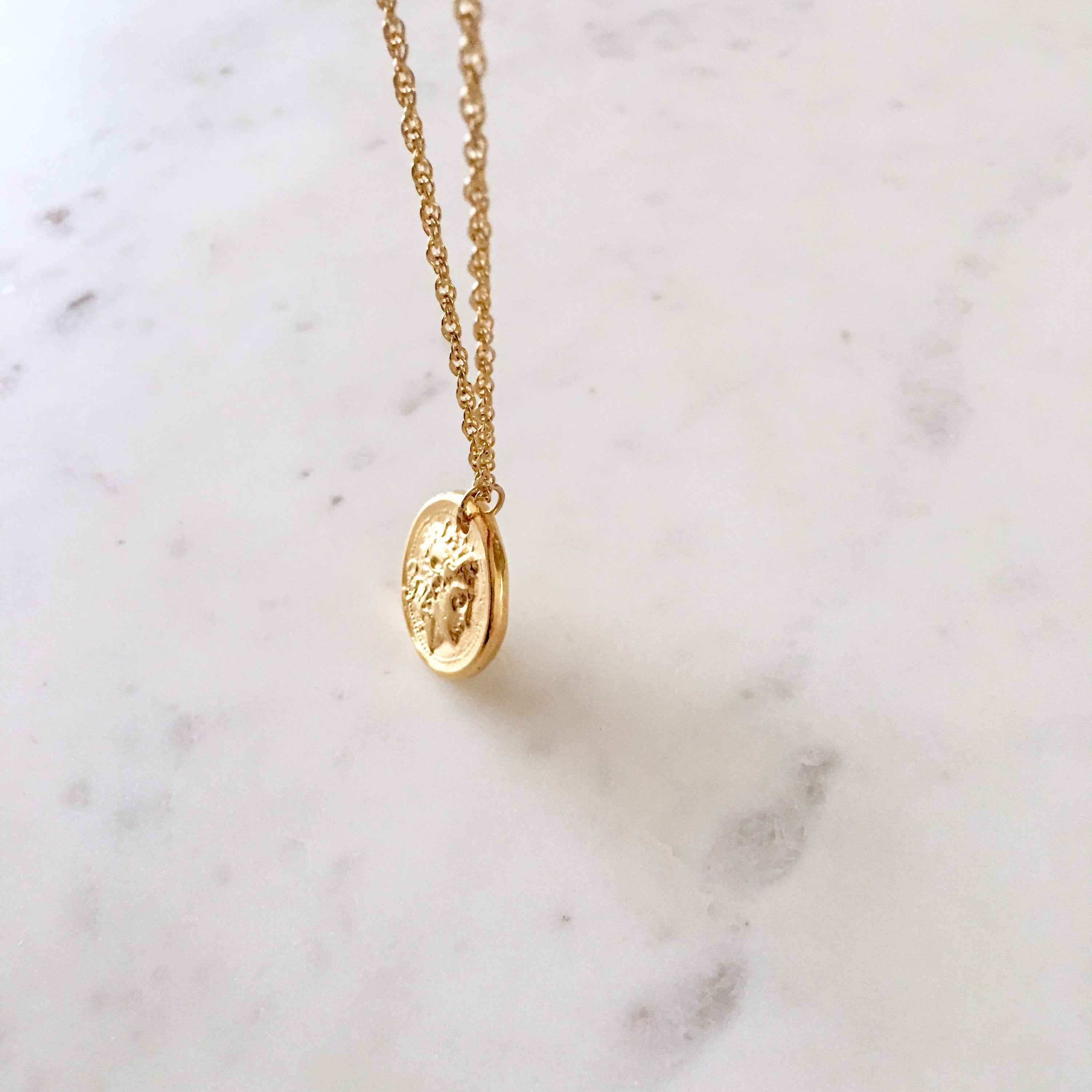 Alexander the Great Coin Necklace - Alexander Necklace, Greek Coin Necklace, Gold Coin Necklace, Alexander the Great Necklace |GPN00012