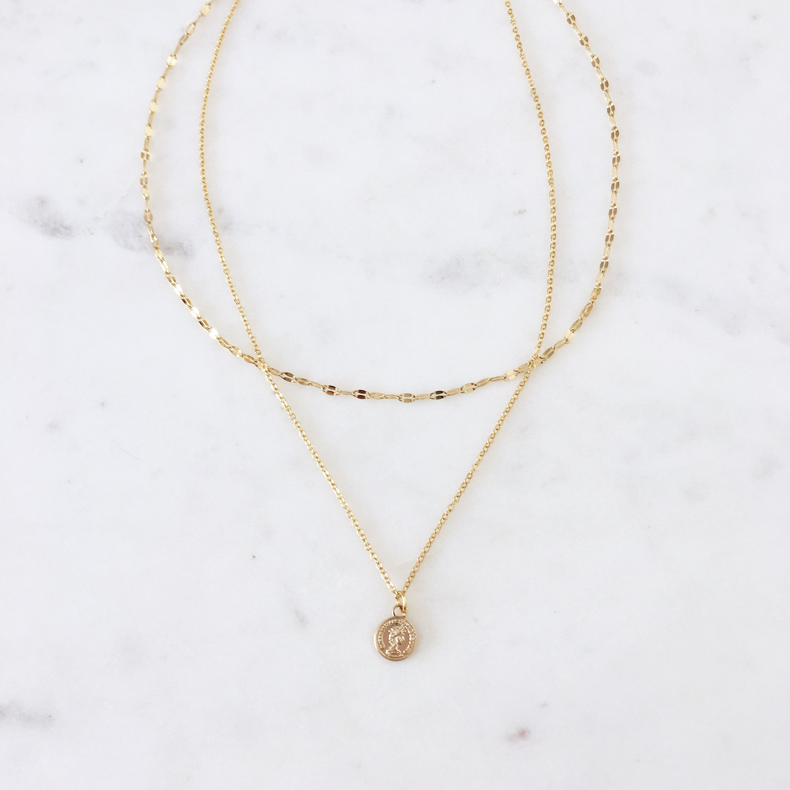 Small Gold Coin Necklace set