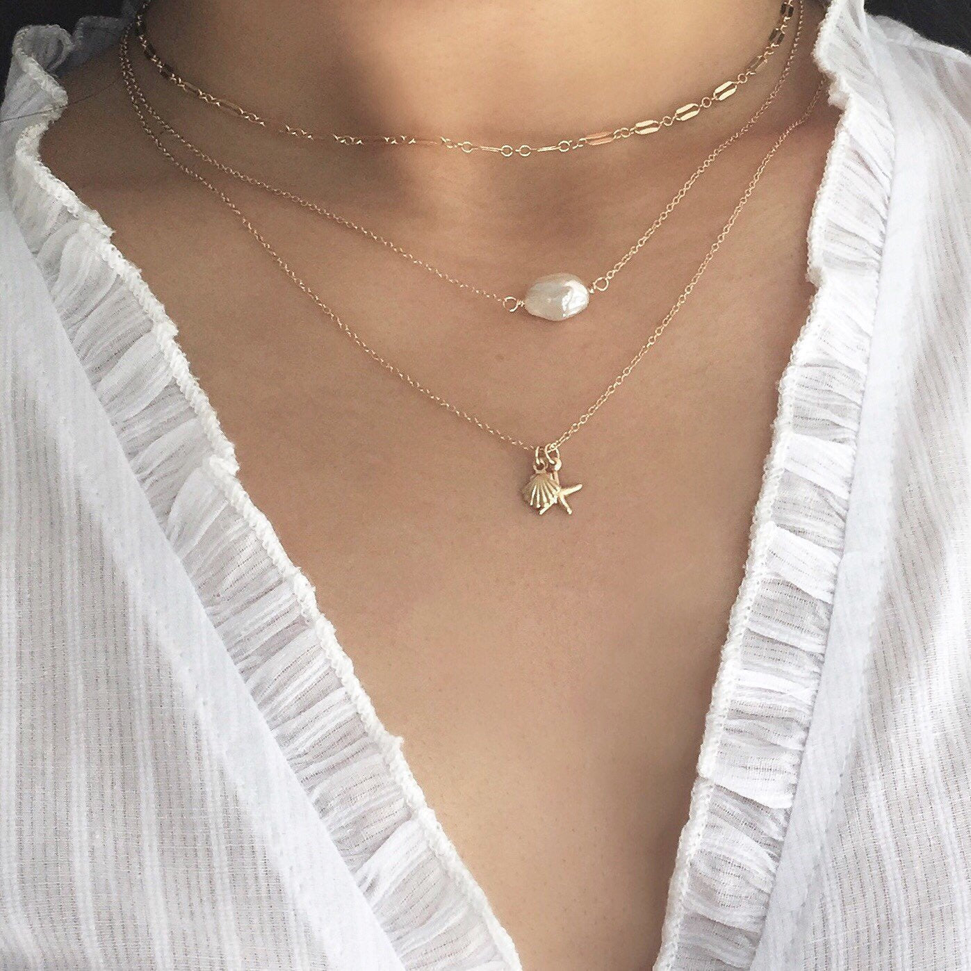 Single Pearl Necklace - Simple Pearl Necklace, Keshi Pearl Necklace, Freshwater Pearl Necklace, Real Pearl necklace, pearl choker |GFN00054