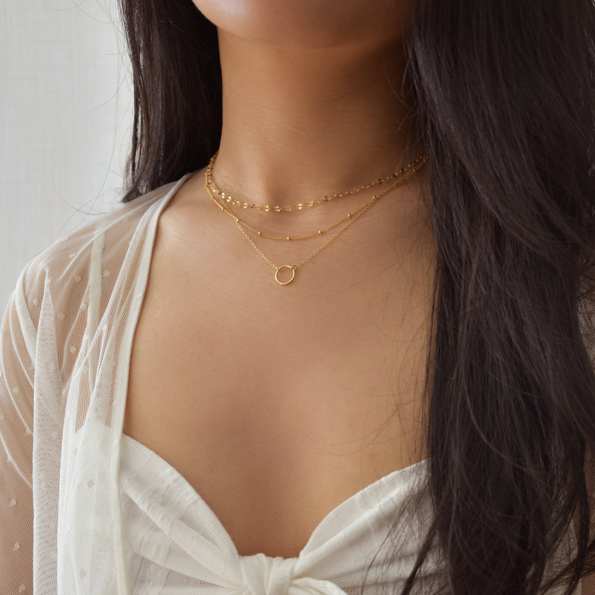 Layered Circle Necklace Set