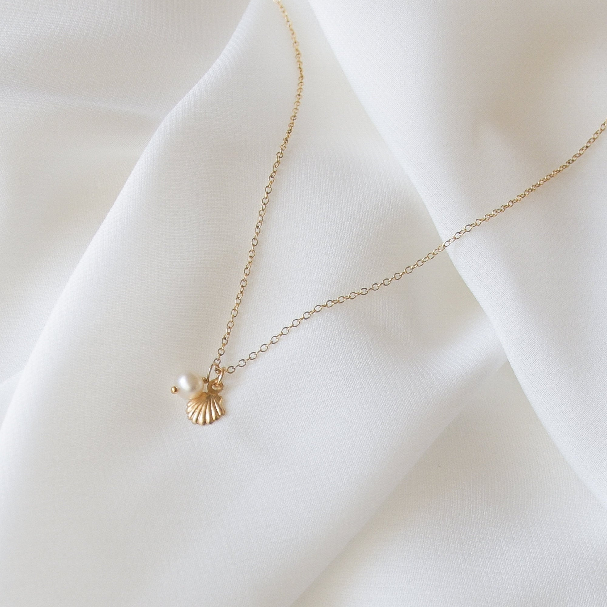 Tiny Seashell and Pearl Necklace