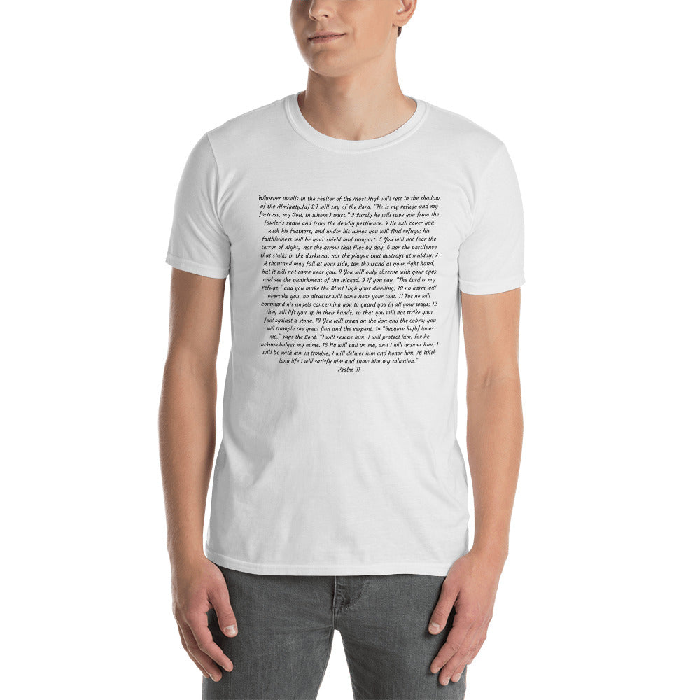 Psalm 91 White Short-Sleeve Unisex T-Shirt
