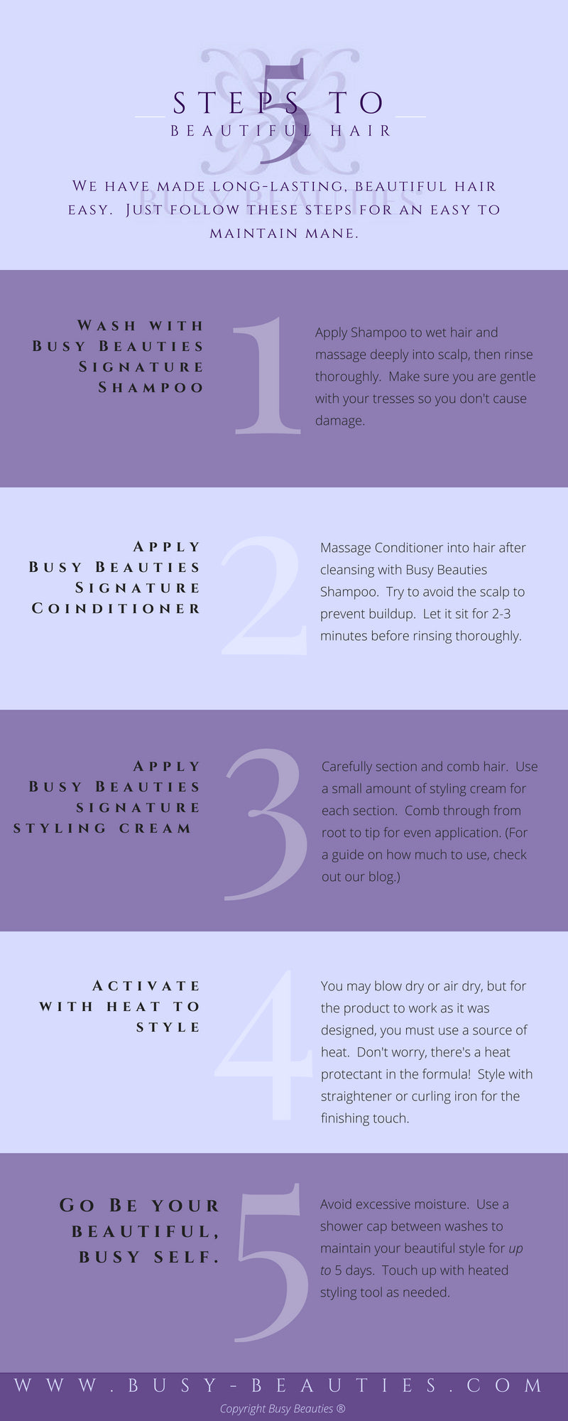 Infographic - 5 Steps to Beautiful Hair with Busy Beauties