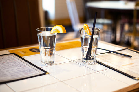 Glasses of water on a restaurant table