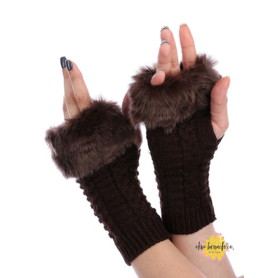 Brown Faux Fur Arm Warmers - Women - Accessories - Gloves - The Olive Branch Co. Boutique