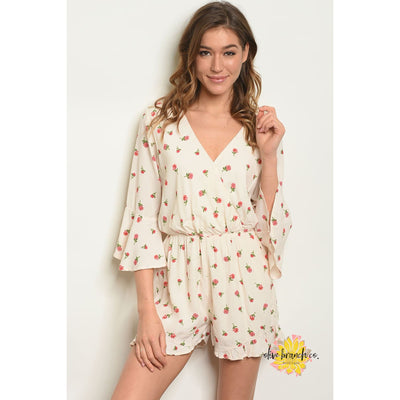Elaina Floral Print Cream Romper - Women - Apparel - Jumpsuits/Rompers - The Olive Branch Co. Boutique