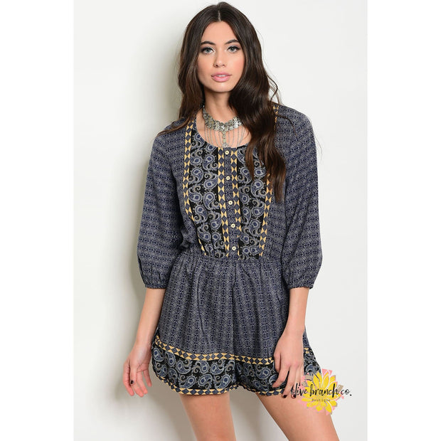 Lady Of Mystery Paisley Romper - Women - Apparel - Jumpsuits/Rompers - The Olive Branch Co. Boutique