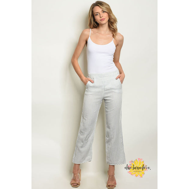 Madison White Stripe Pants - Women - Apparel - Pants - Cropped - The Olive Branch Co. Boutique
