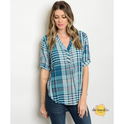 Mallory Plaid Navy Tunic V-Neck Blouse - Women - Apparel - Shirts - Blouses - The Olive Branch Co. Boutique