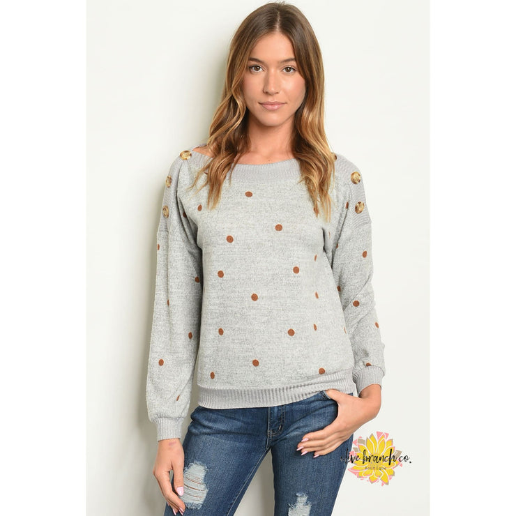 Mary-Beth Polka Dots Button Top - Women - Apparel - Shirts - Blouses - The Olive Branch Co. Boutique