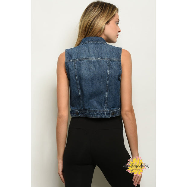 Rebel Chic Cropped Denim Vest - Women - Apparel - Dresses - Day to Night - The Olive Branch Co. Boutique