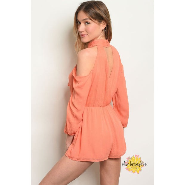 Sweet, But Psycho Cold Shoulder Romper - Women - Apparel - Jumpsuits/Rompers - The Olive Branch Co. Boutique