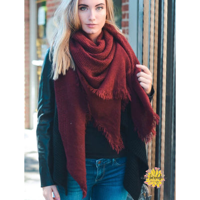Warm Burgundy Open Weave Blanket Scarf - Women - Accessories - Scarves - The Olive Branch Co. Boutique