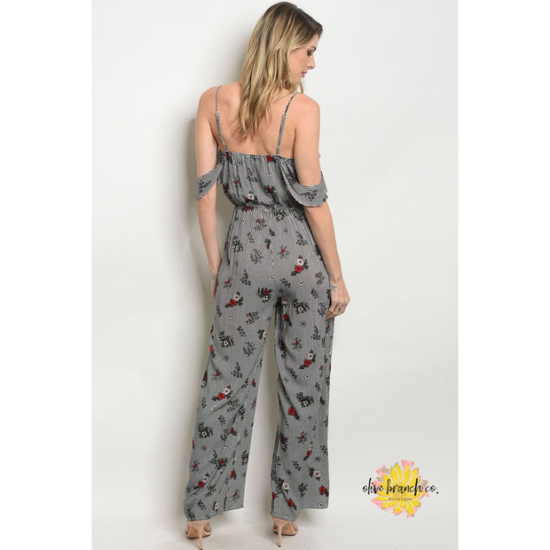 Whimsical Floral Striped Jumpsuit - Women - Apparel - Jumpsuits/Rompers - The Olive Branch Co. Boutique