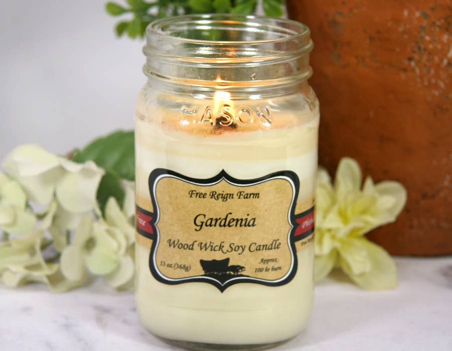 Gardenia Wood Wick 100% Soy Candles Phthalate Free