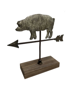 Wilco Home - Pig Weathervane Figure On Wood Stand