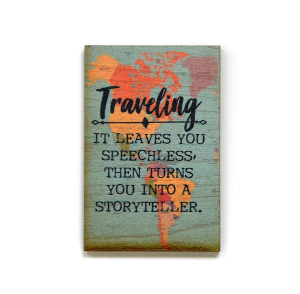 Travelers Wooden Magnet 2x3""