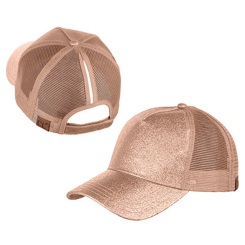 Ponytail Glitter Messy Trucker Baseball Cap